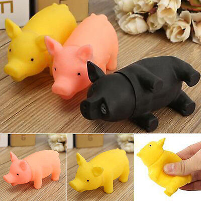 About rubber Pet Dog Puppy Pig Shape Chew Fetch Play Toys Squeaker Squeaky Sound (Rubber Pig)