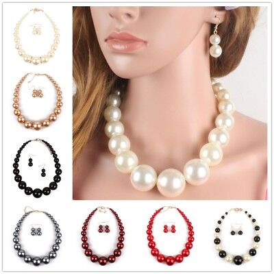 Fashion Jewelry Set Earring Pearl Necklace Clavicular Chain Pendant Women - Chain Pearl Jewelry Set