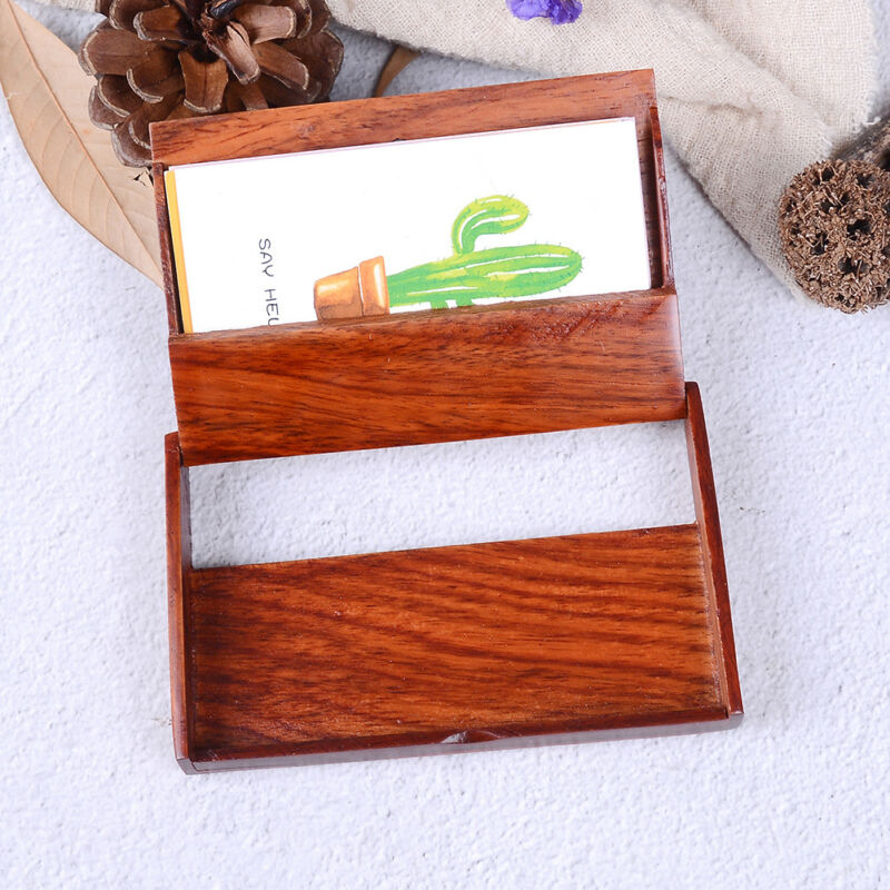 Wooden Name Card Business Card Holder Handmade Box Storage id credit case HF