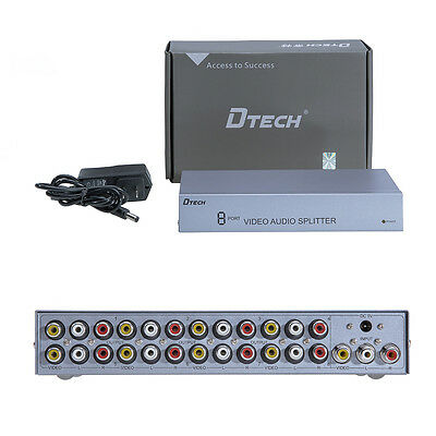 DTECH  Powered 8 Way RCA AV Splitter Box Composite Audio Video 3RCA 1 in 8 -