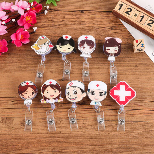 Cartoon Retractable Badge Reel Nurse Exhibiton ID Name Card Badge Holder Clip