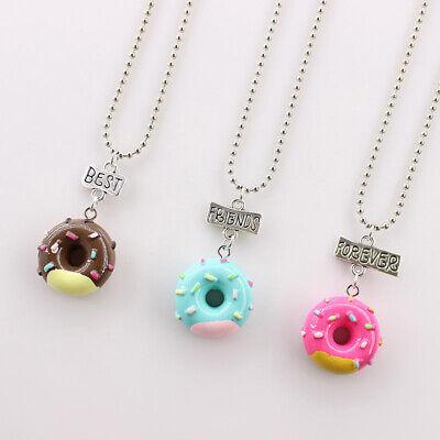 3 Pcs Necklace Set Donut Shaped Best Friends Friendship Alloy Necklace for