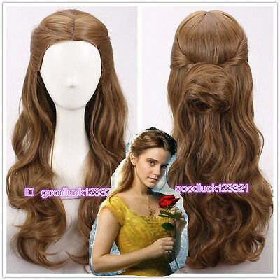 2017 new movie Beauty and The Beast Princess Belle Cosplay Wigs+a wig cap (Movie Wigs)