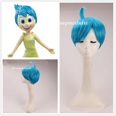 2015 new movie Inside Out Joy short blue ainme cosplay party wig +free wig cap (Joy Wig)