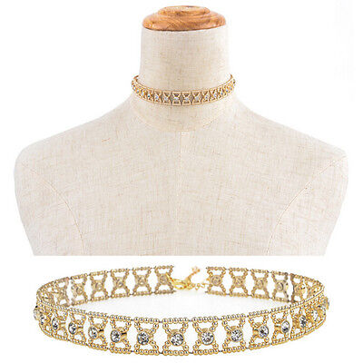Strass Kristall Anhänger (Frauen kristall strass anhänger choker kragen bogen gold kette halskette sc CBL)