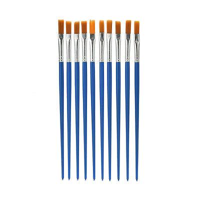 10x/Set Paint Brush Set New Nylon Blue Brush Kid Watercolor Drawing Painting 'B$ (Nylon Paint Brush)