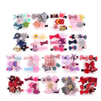 1 set Hairpin Baby Girl Hair Clip Bow Flower Mini Barrettes Star Kids Infan BLUS