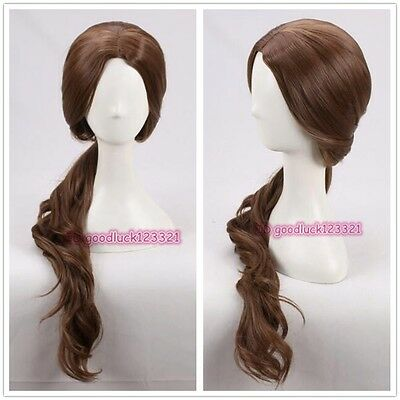 Beauty And The Beast Belle Long Wavy Brown Daily Wear Cosplay Wig  A Wig Cap