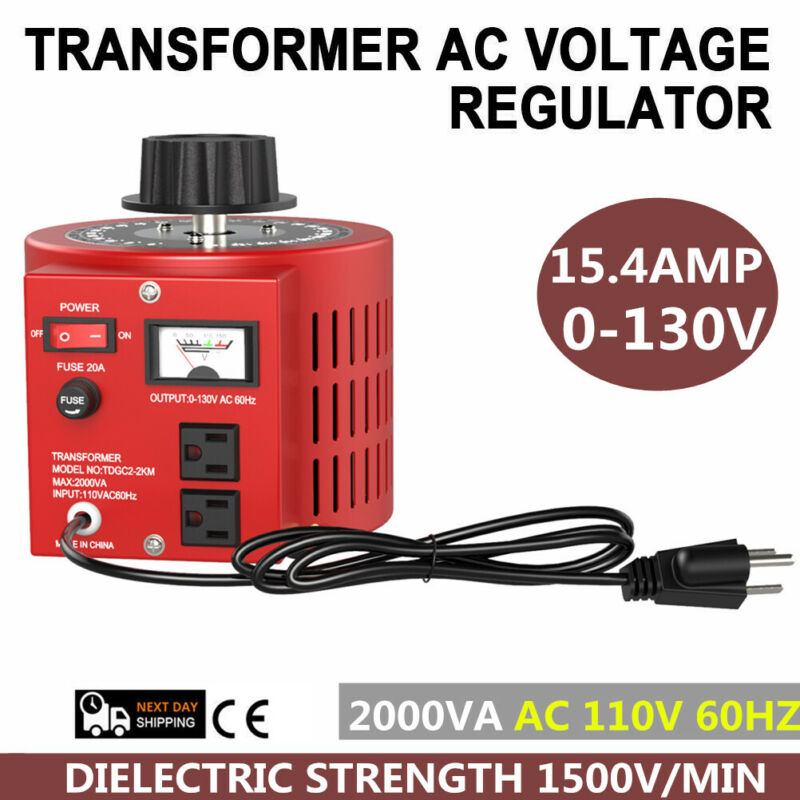 0-130V 15.4A Variable 2000W AC Power Transformer Regulator 15Amp 110V Variac