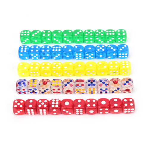 13mm 10Pcs transparent six sided spot dice toys D6 RPG role playing game In ZX