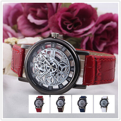 Fashion Military Hollow Womens Analog Quartz Stainless Steel Wrist Watch Watches