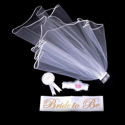 4Pcs Bride to Be White Garter Sash Veil Badge Rosette Bachelorette Party Set BR - Bridal Party Sashes