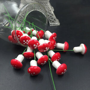 10X Miniature Mushroom Fairy Garden Ornament Dollhouse Pot Decor DIY Craft ^G
