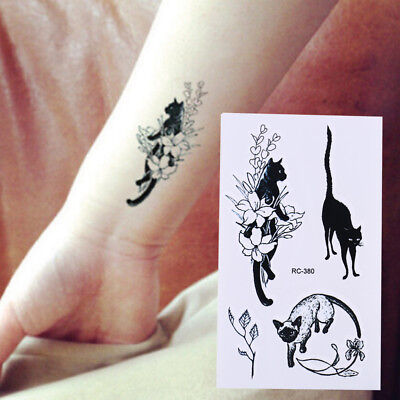 Waterproof Temporary Tattoo Sticker Black Cat Water Transfer Flash Tatoo Fake KW](Caterpillar Tattoos)