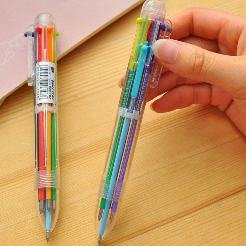 6 in 1 Color Ball Point Pen Multi-color Ballpoint Pens Office Stationery OU