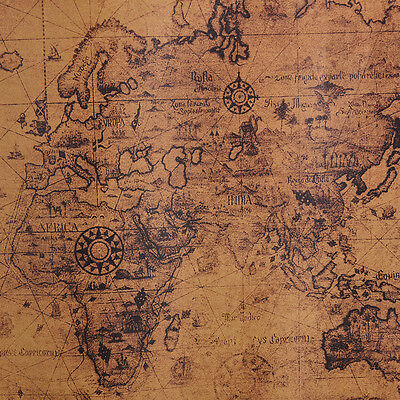 Large Vintage Style Retro Paper Poster Globe Old World Map Gifts 72x51cm 8X6