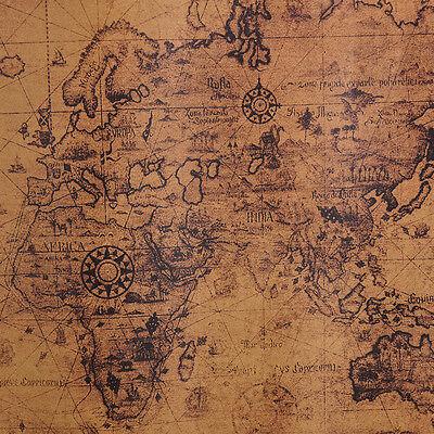 Grande Vintage Retro Carta Poster Globo Mappa del Vecchio Mondo Regali 72x51cm`C