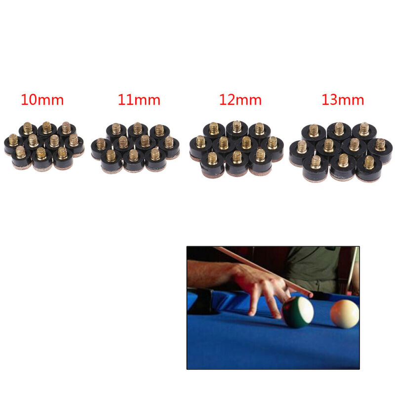 10X Screw On Cue Tips For Billiard Pool Cue Stick Snooker Replacement 10~13mmE4H