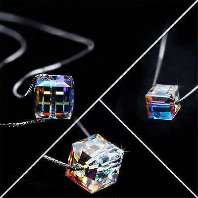 (Fashion Charm Women Magic Cube Crystal Chain Necklace Pendant Gift Fine Jewel Mu)