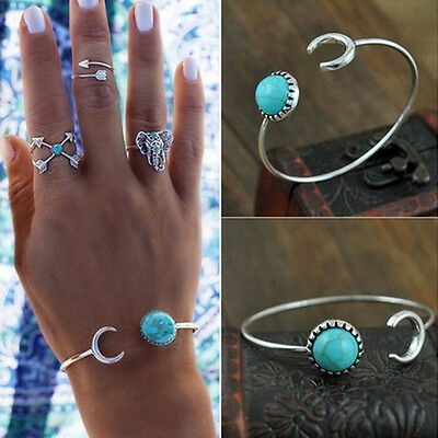Pretty Best Moon Open Charm Bracelet Natural Turquoise Stone Bracelets Bangl Wt
