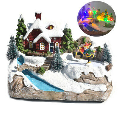 Christmas Snow House Village Decor with Music LED Xmas Home Decoration Gift