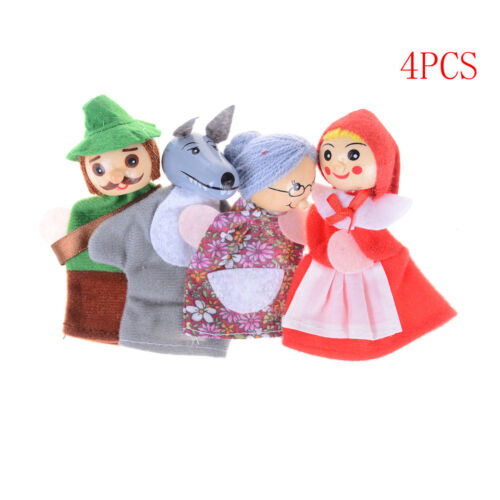 4 Pcs//set Little Red Riding Finger Puppets Wooden Headed Baby Educational Toy Dt