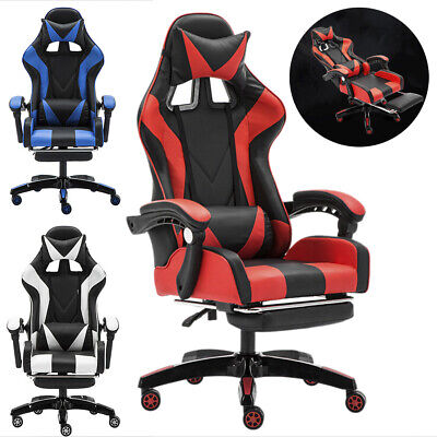 Cliensy Gaming Chair Racing Recliner Durable Seat Computer Desk Footrest Office