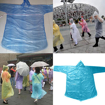 10x Adult Emergency Waterproof  Disposable Rain Coat Poncho Hiking Camping EG