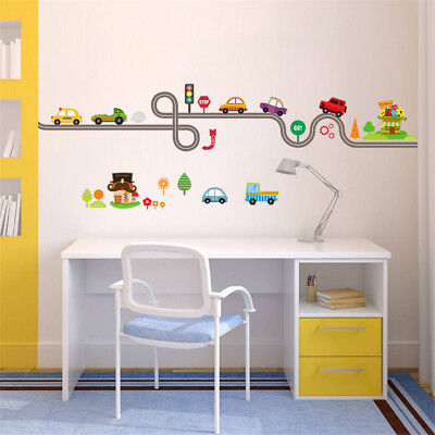 car bus highway track wall stickers for children's room decor wall art decals - Car Room Decor