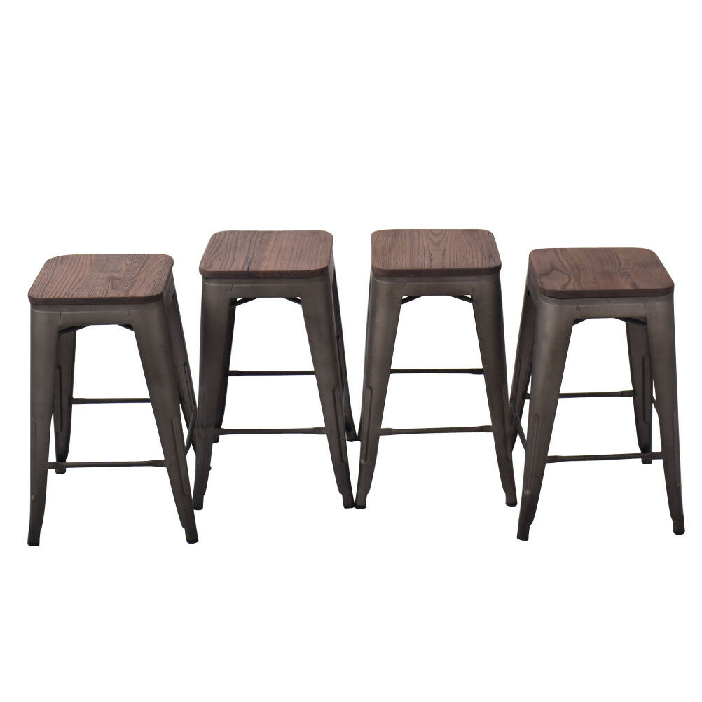 Pleasant Details About 24 Bar Stool Metal Steel Pack Of 4 Counter Stools Wooden Cushion Chair Rusty Gmtry Best Dining Table And Chair Ideas Images Gmtryco