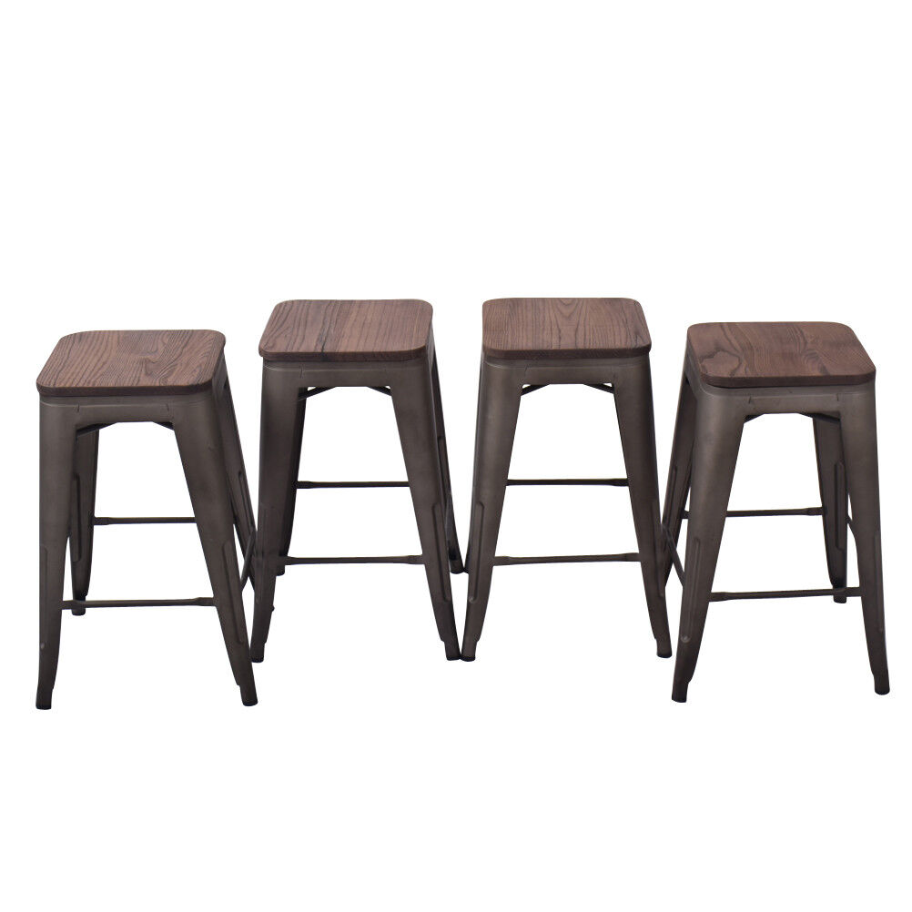 Details About 24u0027u0027 Bar Stool Metal Steel Pack Of 4 Counter Stools Wooden  Cushion Chair Rusty
