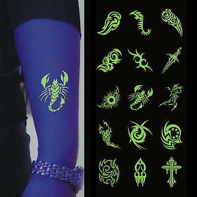 Glow In The Dark Night Body Temporary Tattoos Luminous Stickers Hot Sale KW - Glow In Dark Tattoo