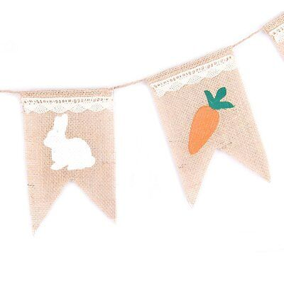 Easter Bunny Bunting Banner Easter Party Wall Decor Jute Burlap - Bunting Decorations