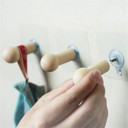 Self Adhesive Clothes Hooks No Drills Wooden Wall Mounted Ke