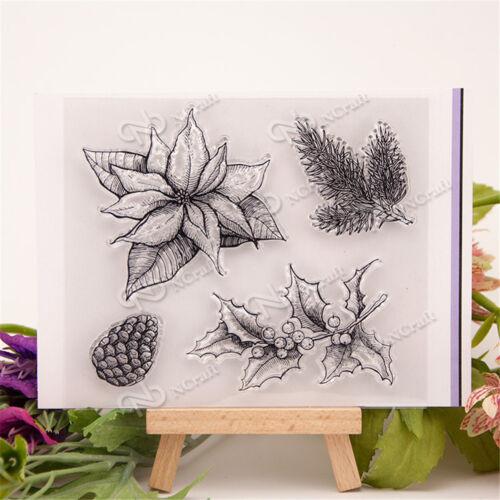 Vivid Pine  and Flower Rubber Stamp Scrapbooking Photo Album