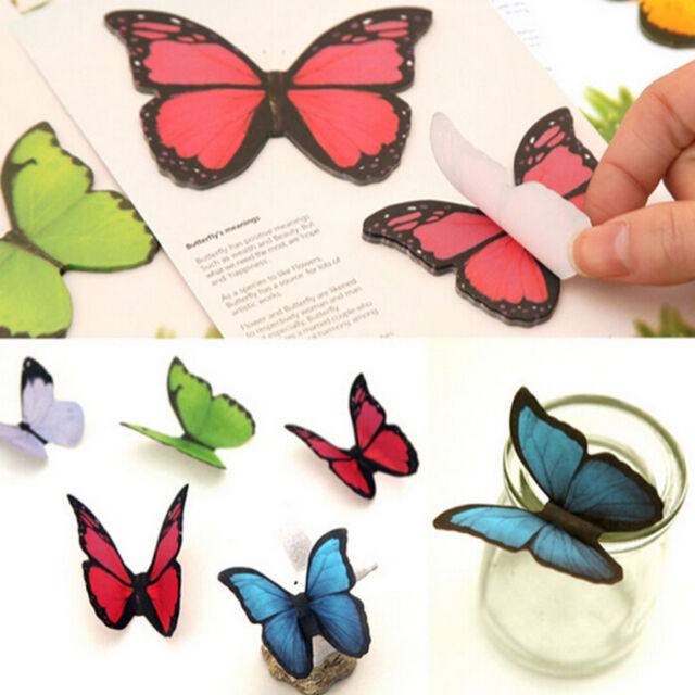 1X  Butterfly Sticker Bookmark Marker Memo Flags Index Tab Sticky Notes MO