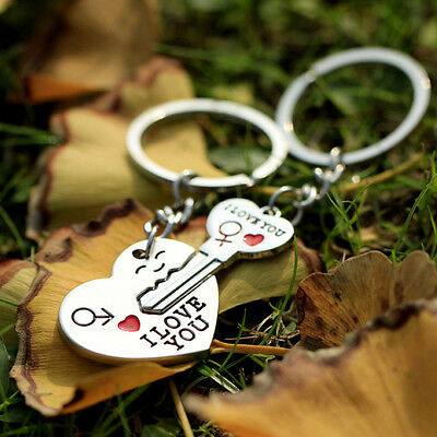 1 Pair I LOVE YOU Letter Keychain Heart Key Ring Souvenirs secret Lover Gift - I Love You Letter