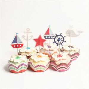 24pcs ocean sailing yacht boat pirate ship whale cupcake toppers party supply KZ