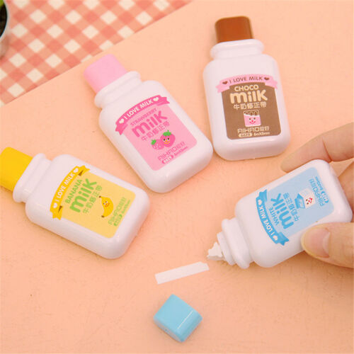 Milk Bottle Roller White Out School Office.Study Stationery Correction Tape X_sg