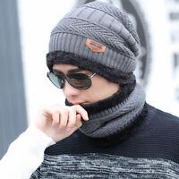 Caldo Foderato Uomo Cappello Invernale Sciarpa Maglia Cappello Inverno. In  vendita su 4beed1cdca85