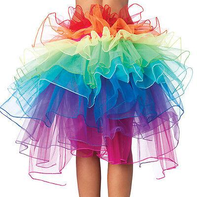 Rainbow Neon Rave Dance Ballet Tutu Ruffle Tiered Fancy Skirt Clubwear Xmas - Neon Tutu