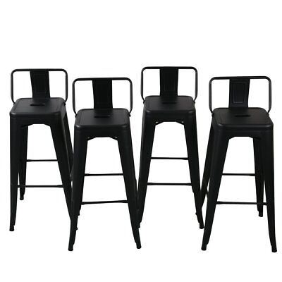 Outdoor Steel Bar Stool (NEW Low Back Indoor / Outdoor Chair Stool Counter Height Stools Black (Set of 4) )