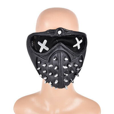 Game Watch Dogs2 Marcus Holloway Wrench Cosplay Mask Prop Gothic Rivet FaceBLJC