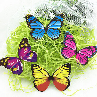 50pcs Butterflies Rainbow DIY Cupcake Fairy Cake Toppers Decor WG