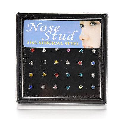 24Pcs Rhinestone Surgical Steel Nose Ring Heart Shape Bone Stud Body Piercing TY