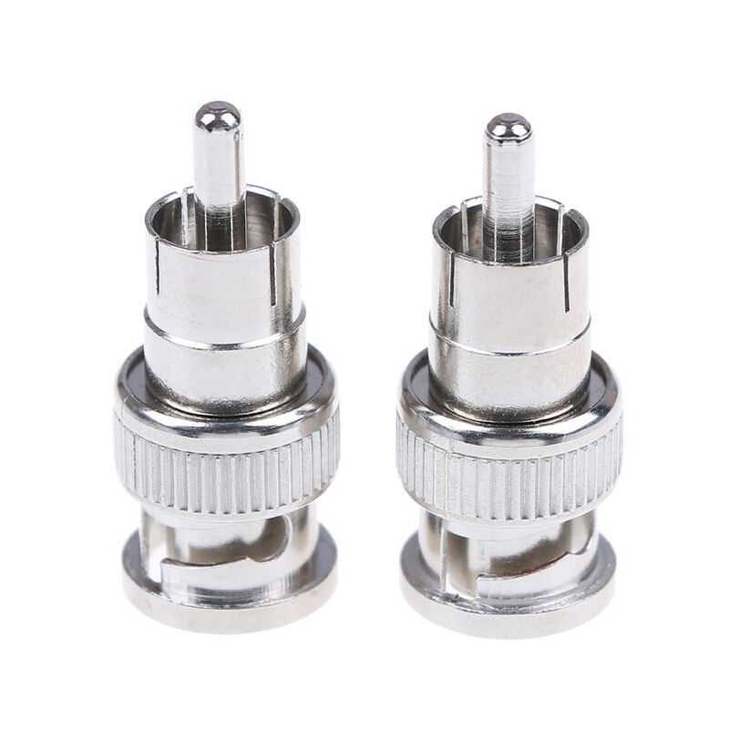 2Pcs BNC male to RCA male coax connector adapter cable coupler for cctv cameraCY