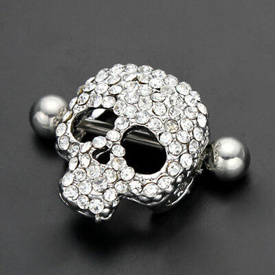 1X/1pair Skull Shaped Nipple Shield Nipple Ring Stainless Steel Piercing new. (Skull Nipple Shield)