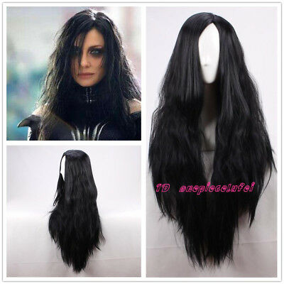 Thor: Ragnarök Hela Cosplay Fluffy Curly 80cm Long Black Hair Wig  +a wig cap