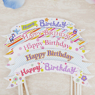 Happy Birthday Cake Cupcake Bunting Banner Flag Topper Shower Party Picks - Cupcake Happy Birthday Banner