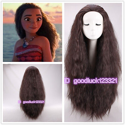 2016 New Movie Moana Wig long curly brown cosplay costume wig +a wig - Movie Wigs